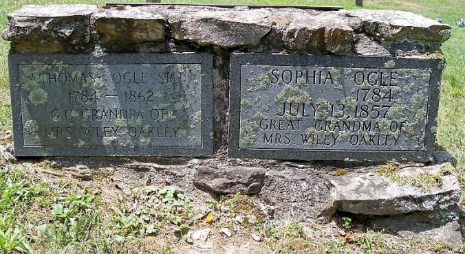 Thomas Ogle beside Wife Sophia Bosley-Ogle Headstone